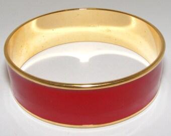 Vintage SIGNED Monet RED Enamel Bracelet