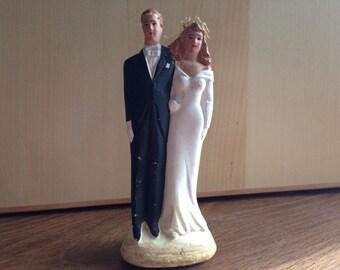 Vintage Wedding Cake Topper Chalkware Husband and Wife Figurine
