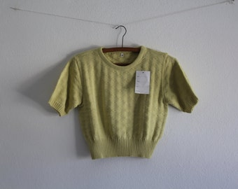 Vintage Crop Top Lime Shirt Cotton Top Womens Clothing Spring Summer 1980s Size M/L New Old Stock