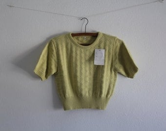 SALE 50 OFF Vintage Crop Top Lime Shirt Cotton Top Womens Clothing Spring Summer 1980s Size M/L New Old Stock