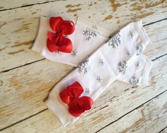 Christmas Leg Warmers, Baby Leg Warmers, Snowflake Leg warmers, White Leg Warmers