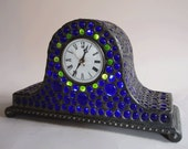 Stained glass mantel clock - Cobalt