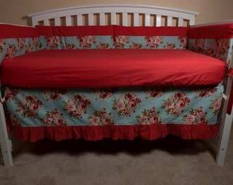 Shabby Chic Rose Crib Bedding Set