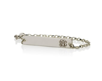 Personalized Bar Name Bracelet  Monogram Bracelet, Initial Bracelet, Sterling Silver