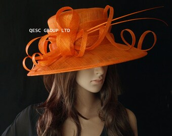 Orange sinamay hat large dress church hat for Kentucky derby,wedding races Melburne cup