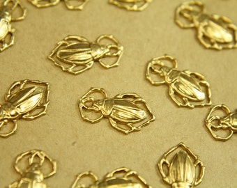 5 pc. Medium Raw Brass Scarab Beetles: 18mm by 11mm - made in USA | RB-380