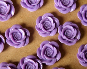 CLOSEOUT - 12 pc. Lavender Open Rose Cabochons 18mm | RES-409
