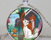 The aristocats Disney pendant necklace charm marry, vintage gift , party favor necklace Round Glass Bezel Pendant, Altered art pendant