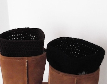 Boot Cuffs 2 Pair in 1 Reversible Chocolate Brown & Black Boot Toppers Handmade Crochet Several Sizes Available
