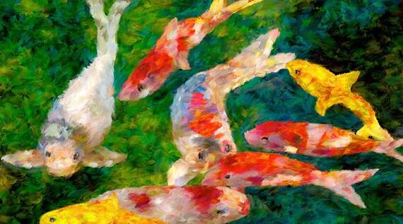 Koi Fish Canvas Fine Art Print Japanese Fish Koi Pond Wall Art