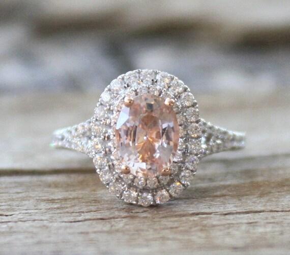 Certified Oval Padparadscha Sapphire Diamond Split Shank
