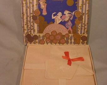 Vintage Handkerchief Box Beautiful with Lovely Hankies Inside Still Bow Tied