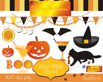 Black Cat Hat Pumpkin Glass Banners Boo 13 ClipArt Images for cards, scrapbooking  - instant download - Halloween Clip Art