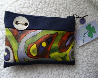 Handmade leather and denim purse, 17 x 12.5 cm