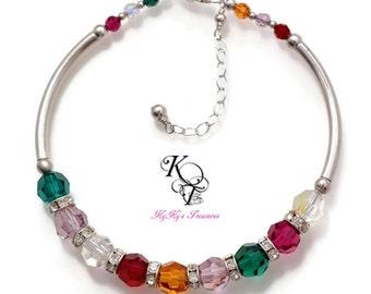 Family Bracelet, Birthstone Bracelet, Mothers Bracelet, Grandma Bracelet, Mothers Jewelry, Sterling Silver Bracelet, Mom Gifts