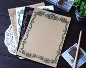 8 Sheets High Quality Lace Writing Paper - Stationery - Letter Paper - Brown Paper - Filofax - Ver A