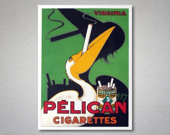Pelican Cigarettes Vintage Poster - Poster Paper, Sticker or Canvas Print