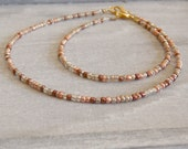 mixed metals anklet and bracelet set in bronze, copper, gold and silver beads stylish and shiny metallic