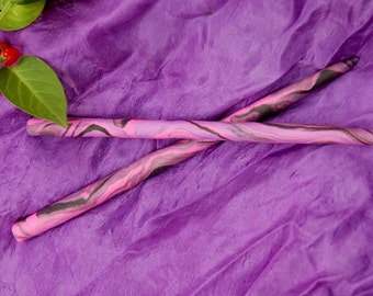 Tie dye pink/purple/black colorful Hippie Gypsy Polymer Hair Sticks Hair Pins approx. 5.5 -6 inches