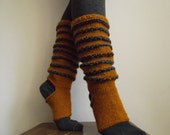 Hand knit wool socks, heel and toe-less