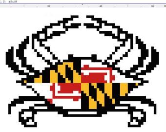 Maryland Flag Crab Cross Stitch Pattern Download