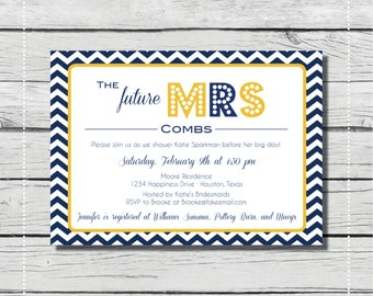 Chevron Bridal Shower Invitation. The future Mrs shower {DIGITAL PRINTABLE INVITATION} Bridal Shower or Baby Shower Invitatio