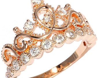 Rose Gold-plated Sterling Silver Crown Ring / Princess Ring - AZDBR5456RG