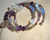 Wabi Sabi Hamsa and Heart Charm Bracelet (Item WSB4)