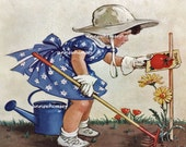 "Vintage Print  ""Grow Garden Grow"" 1937 RESTORED Art Little Girl Gardener, Little Girl's Room Art, Gift for Gardener  #86"