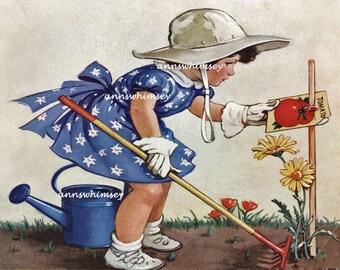 "Vintage Print  ""Grow Garden Grow"" 1937 RESTORED Art Little Girl Gardener,  #86"