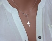 Cross Infinity Lariat Necklace, Sterling Silver Lariat Necklace, Infinity Jewelry, silver lariat cross necklace, Cross necklace women. Cross