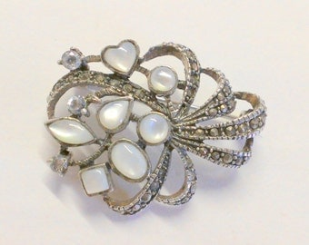 Sterling Silver Marcasite Mother of Pearl Flower Brooch / Pin
