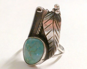 Navajo Sterling Silver Turquoise Ring Size 8.5 Dead Pawn