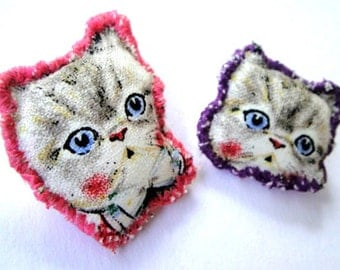 cotton fabric cat brooch ,  cat jewellery, cat accessories, for cat lovers, cat lady gifts, fabric jewellery, fabric brooch, cat brooch