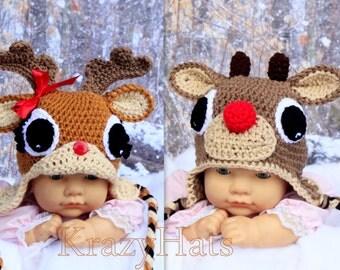Reindeer hat.Crochet Rudolph the Reindeer hat. Clarisse beanie.