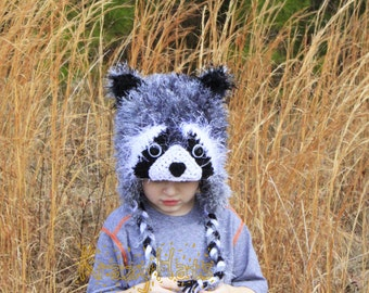 Crochet fuzzy Raccoon hat.