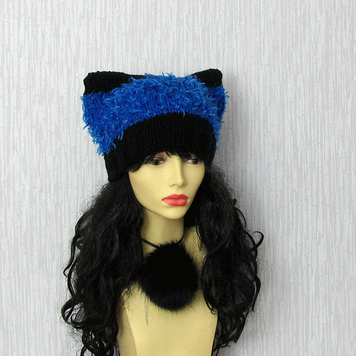 Knitting Patterns For Hats With Cat Ears : Cat Ears Beanie Knitting Knit Hat Kitty Cat Ear Hat Cobalt Hat