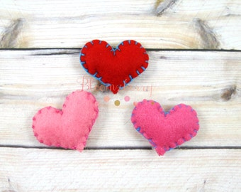 """Sale 30% off 1.5"""" Flannel Hearts Appliques - Red, Pink and Hot Pink - Felt Heart Appliques , Flannel Hearts - DIY Hair Accessories Supplies"""