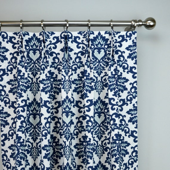 Navy blue white cecelia damask modern floral curtains pinch for Blue and white drapery panels