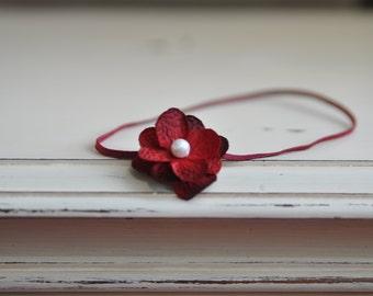 Baby Headband. Burgundy Headband. Hydrangea Flower Headband. Photography Headband. Burgundy