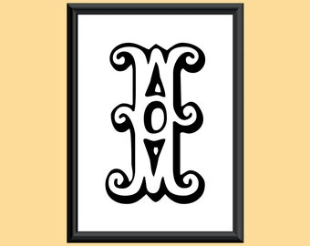 Typography Giclee Print Monogram Initial Wall Art Tropicana Letter I