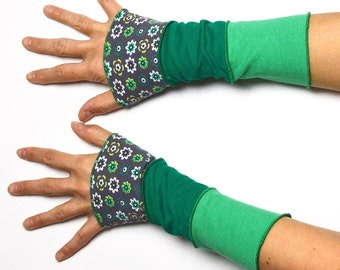 Mittens Arm Warmers 3 colours Wrist Warmers patchwork cotton flower green