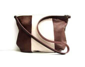 Leather bag linen and leather handbag linen purse linen shoulder bag