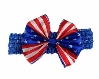 4th of July Baby Headband, Patriotic Headband, Baby Girl Head Band, Hair Bow Headband, Memorial, Independence Day Holiday Headband
