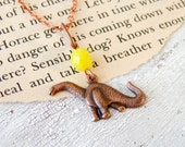 Dinosaur necklace / brontosaurus necklace / dinosaur charm / copper dino necklace / prehistoric