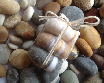 SOAP 3 Pebbles, Beach house decor, Gift Idea, Hand Felted Soaps, Felt Soap,