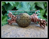Five 5 Row Beaded Leather Boho Chic Style Cuff Bracelet with Dakota Stones Genuine Green African Jade Beads