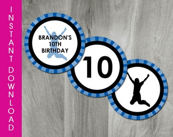Trampoline Party, INSTANT DOWNLOAD, Self Editable Cupcake Toppers, Party Circles, Boy Birthday, Printable Tag, Digital PDF File