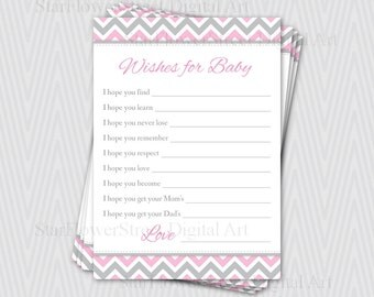 Wishes for Baby Girl chevron soft baby pink grey gray cards printable digital instant download DIY shower decoration party well wish advice
