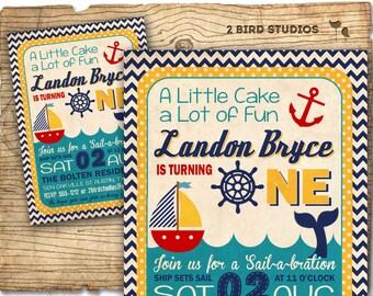 Nautical Birthday Invitation - Sail Boat invitation - Chevron nautical invitation - First Birthday invitation Nautical Printable invitation